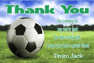 Personalsied Football Theme Thank You Cards